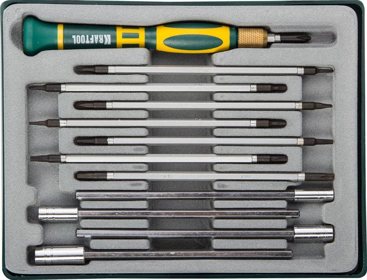 Набор насадок для точных работ Kraftool, 13 предметов25611-H12Сменные насадки Kraftool для точных работ в комплекте с универсальной ручкой с фиксатором делают набор удобным при разнообразных работах. Набор предназначен для монтажа и демонтажа резьбовых соединений. Предметы выполнены из высококачественной стали, ручка изготовлена из пластика с резиновыми вставками.В комплекте пластиковый футляр для переноски и хранения.Состав набора:Т5 х Т6, Т7 х Т8, Т9 х Т10, Т15 х Т20.SL1,5 x PH000, SL2 x PH00, SL3 x PH0, SL4 x PH1.Головки шестигранные: 3 мм, 4 мм, 5 мм, 6 мм.Рукоятка длиной 11 см.