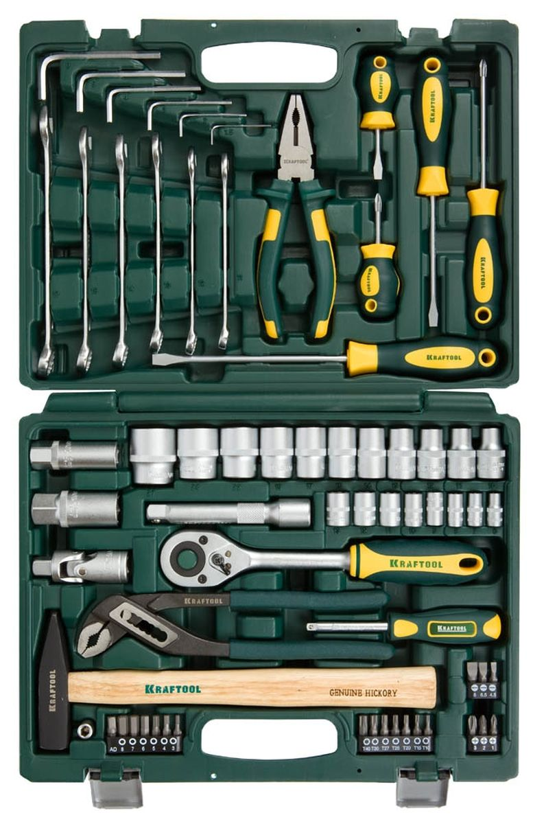 Набор слесарно-монтажных инструментов Kraftool Expert, 66 предметов27976-H66Набор слесарно-монтажных инструментов Kraftool Expert состоит из 66 предметов. Этот профессиональный набор разработан в соответствии с самыми высокими требованиями и предназначен для индустриального применения. Выдерживает интенсивные нагрузки, имеет большой ресурс и обеспечивает превосходное качество выполнения работ.Инструменты в наборе изготовлены из высококачественной закаленной хромованадиевой стали. Хромированное покрытие защищает от коррозии и увеличивает срок службы. Рукоятки инструментов обеспечивают комфорт во время работы, не утомляют и не натирают руку. Набор снабжен профилем SUPER-LOCK для переноса пятен контактов с углов граней крепежа к их центру. Надежный пластиковый кейс удобен для хранения и транспортировки набора.Набор включает:- торцовые головки 1/4, 8 шт: 6, 7, 8, 9, 10, 11, 12, 13 мм;- вороток-отвертка 1/4; - адаптер SQ1/4-H1/4; - адаптер H1/4-SQ1/4; - биты 19 шт: PH1, 2, 3; SL4.5, 6.5, 8.0; H3, 4, 5, 6, 7, 8; T10, 15, 20, 25, 27, 30, 40;- торцовые головки SUPER-LOCK 1/2, 11 шт: 10, 11, 12, 13, 14, 15, 17, 19, 22, 24, 27 мм;- торцовые головки 1/2, 11 шт: 10, 11, 12, 13, 14, 15, 17, 19, 22, 24, 27 мм;- торцовые головки 1/2 свечные, 2 шт: 16, 21 мм;- удлинитель 1/2, 125 мм;- шарнир карданный 1/2; - трещотка, 24 зубца, 1/2; - комбинированные ключи, 6 шт: 11, 12, 13, 14, 15, 17 мм;- клещи переставные, 250 мм;- плоскогубцы, 180 мм;- молоток, 300 г;- имбусовые ключи, 6 шт: 1.5, 2, 3, 4, 5, 6;- отвертки 5 шт: SL, PH.