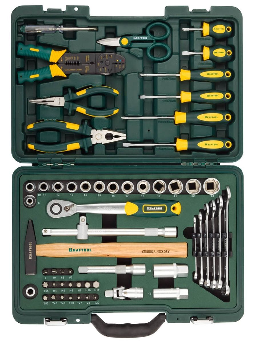 Набор слесарно-монтажных инструментов Kraftool Industry, 59 предметов. 27977-H5927977-H59Набор слесарно-монтажных инструментов Kraftool Industry состоит из 59 предметов и включает в себя такие инструменты, как трещотку, адаптеры, ключи, молоток, тонкогубцы и другое. Этот профессиональный набор разработан в соответствии с самыми высокими требованиями и предназначен для индустриального применения. Выдерживает интенсивные нагрузки, имеет большой ресурс и обеспечивает превосходное качество выполнения работ. Инструменты в наборе изготовлены из высококачественной закаленной хромованадиевой стали. Хромированное покрытие защищает от коррозии и увеличивает срок службы. Набор снабжен профилем SUPER-LOCK для переноса пятен контактов с углов граней крепежа к их центру.Рукоятки инструментов являются эргономичными, благодаря чему работать становится очень комфортно. Набор слесарно-монтажных инструментов помещен в удобный пластиковый кейс, в котором каждому инструменту отведено свое место.Набор слесарного инструмента включает:- торцовые головки SUPER-LOCK 1/2 14 шт - 8, 10, 11, 12, 13, 14, 15, 16, 17, 18, 19, 21, 22, 24 мм;- торцовые головки 1/2 свечные 2 шт - 16, 21 мм;- шарнир карданный 1/2; - удлинители для торцовых головок 1/2 2 шт - 125 мм, 250 мм;- адаптер трехпозиционный - 3/8F x 1/2M;- трещотка, 48 зубцов 1/2; - адаптер для бит 10 мм - SQ1/2 x H10 мм;- биты 10 мм х 30 мм 18 шт - SL8, 10; PH2, 3; H4, 5, 6, 8, 10, 12; T20, 25, 27, 30, 40, 45, 50, 55;- комбинированные ключи 6 шт - 8, 10, 12, 13, 14, 17 мм;- молоток, 300 г;- тонкогубцы, 160 мм;- плоскогубцы комбинированные, 180 мм;- отвертки 6 шт - SL6.0 x 38 мм, 5 х 100 мм, 6 х 100 мм; PH2 x 38 мм, 1 х 75 мм, 2 х 100 мм;- тестер 100-250V;- ножницы;- электропасатижи;- наконечники для электрических проводов в пластиковом футляре.