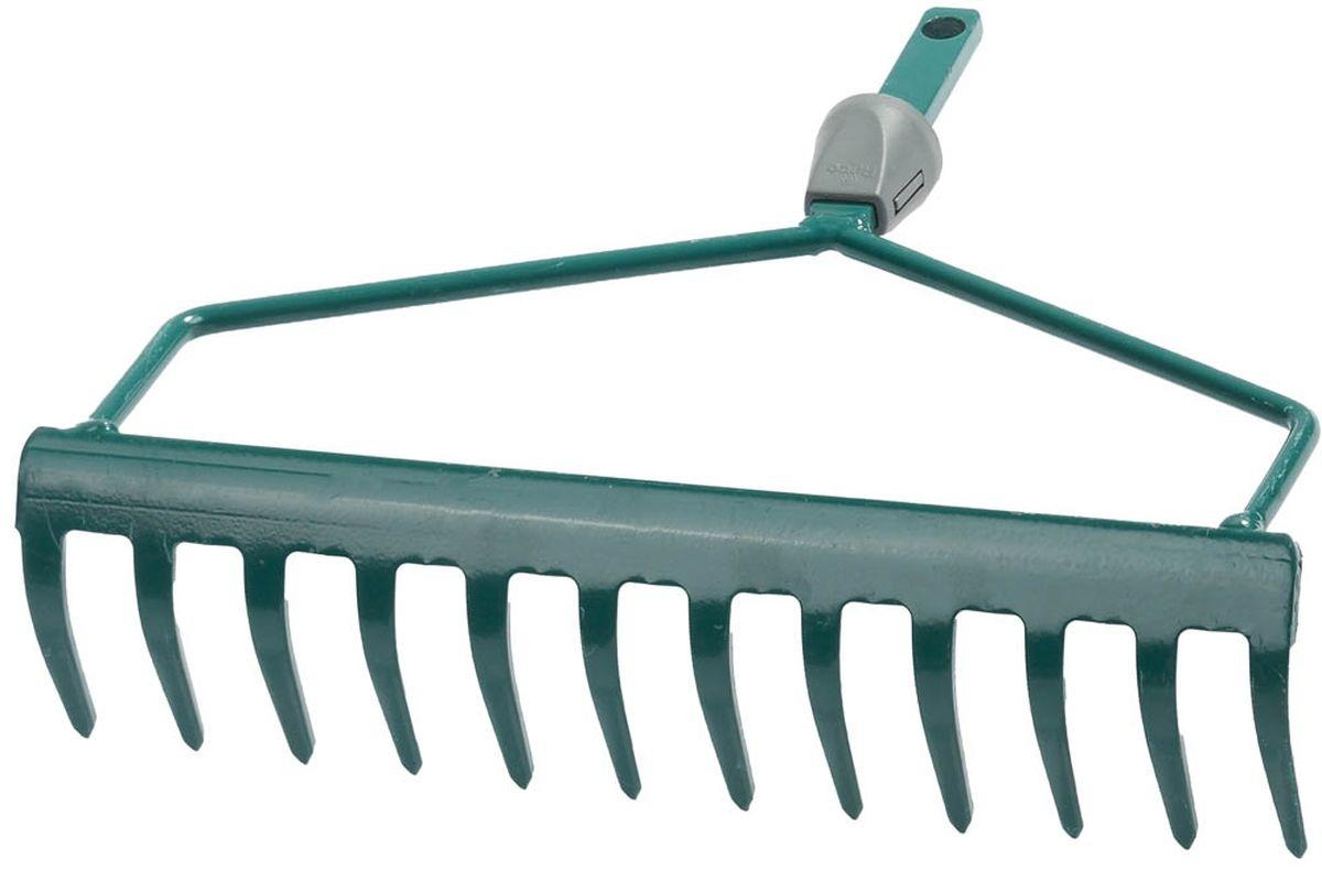 Грабли изогнутые Raco Maxi, с быстрозажимным механизмом, 12 зубцов, 30 см4230-53808Изогнутые грабли Raco Maxi с быстрозажимным механизмом используются для очистки газонов от скошенной травы и листьев, а так же для выравнивания грядок. Имеют D-образный усиленный профиль. Грабли оснащены 12 зубцами и выполнены из штампованной стали, покрыты защитной краской зеленого цвета. Грабли, так же, оснащены быстрозажимным механизмом, что позволяет быстро и легко заменить грабли на нужные по размеру. Черенок в комплект не входит.Ширина рабочей части: 30 см.