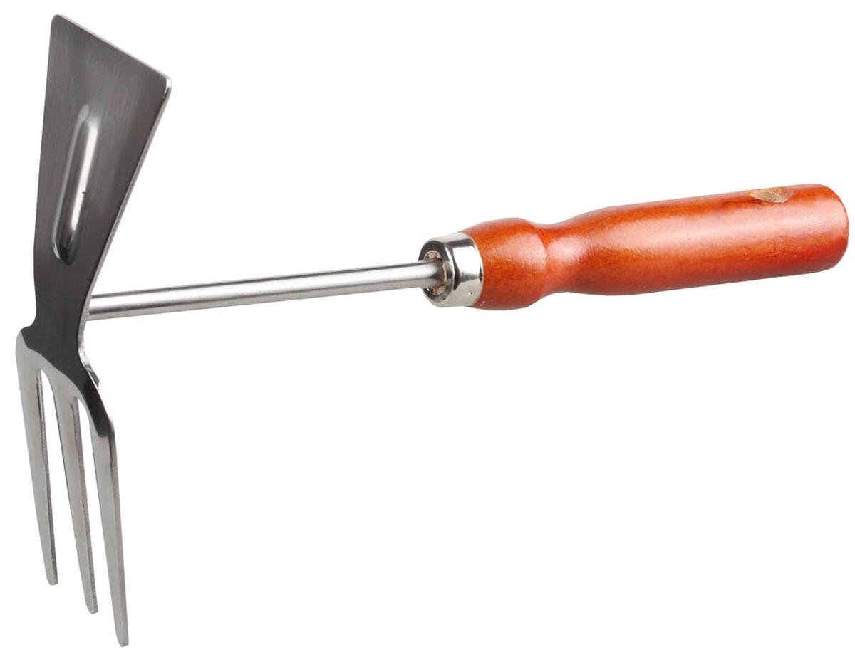 Мотыга Grinda, длина 26 см8-421135_z01Мотыга Grinda применяется для прополки растений и рыхления почвы. Зубцы служат для разбивки комьев и разравнивания грунта. Рабочая часть изготовлена из высококачественной нержавеющей стали. Деревянная рукоятка отполирована, покрыта лаком, имеет отверстие для удобства хранения. Ширина рабочей части: 6,8 см. Общая длина изделия: 26 см.