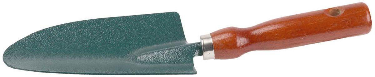 Совок посадочный Grinda, широкий, длина 29 см8-421211_z01Посадочный совок Grinda применяется для посадки растений в саду и огороде. Рабочая часть изготовлена из высококачественной углеродистой стали с покрытием Нammertone. Деревянная рукоятка отполирована, покрыта лаком, имеет отверстие для удобства хранения. Ширина рабочей части: 8,5 см. Общая длина изделия: 29 см.