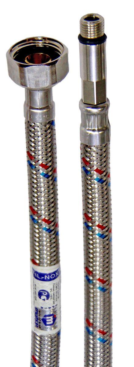 """Подводка в оплетке Mateu """"Fil-Nox"""" изготовлена из нержавеющей стали, латуни и резины. Гибкая подводка применяется для монтажа приборов водоснабжения, отопительного и сантехнического оборудования, бытовых приборов, использующих воду. На концах шланга расположены две гайки с внутренней резьбой. Внутренний диаметр шланга: 8,5 мм. Внешний диаметр шланга: 12,5 мм.Внутренний диаметр ниппеля/штуцера: 5,9 мм.Рабочее давление: 2 Мпа. Рабочая температура: 110°С. Минимальный радиус изгиба: 26 мм.Вылет штуцера: 35 мм.Резьба штуцера: М10х1.Проходимость: 32 л/мин."""