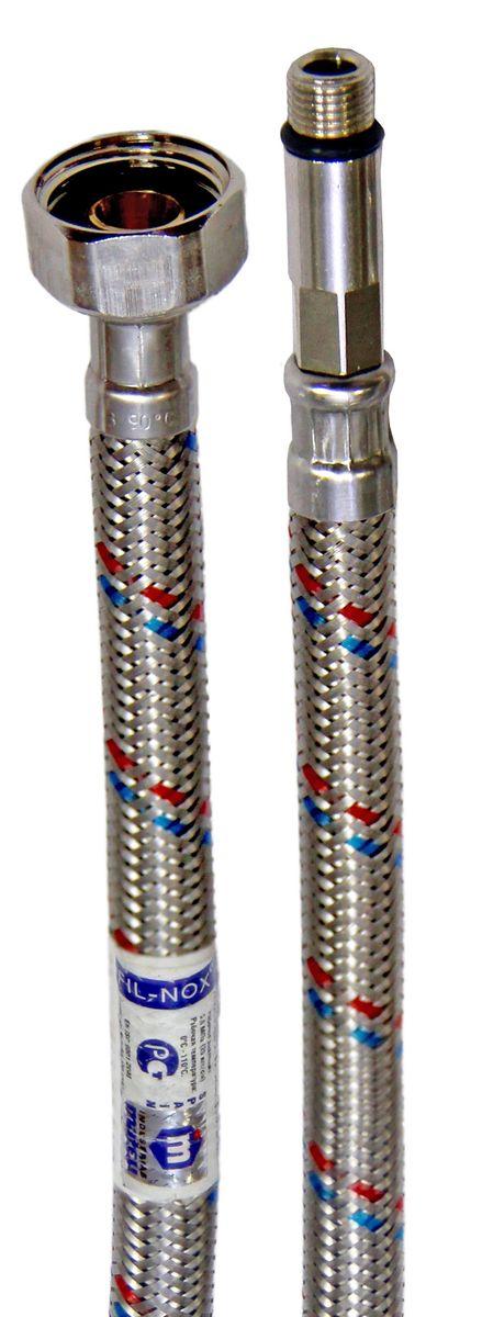 Подводка в оплетке для смесителя Mateu Fil-Nox, 1/2 х М10х1 х 35, 0,5 м721050086Подводка в оплетке Mateu Fil-Nox изготовлена из нержавеющей стали, латуни и резины. Гибкая подводка применяется для монтажа приборов водоснабжения, отопительного и сантехнического оборудования, бытовых приборов, использующих воду. На концах шланга расположены две гайки с внутренней резьбой. Внутренний диаметр шланга: 8,5 мм. Внешний диаметр шланга: 12,5 мм.Внутренний диаметр ниппеля/штуцера: 5,9 мм.Рабочее давление: 2 Мпа. Рабочая температура: 110°С. Минимальный радиус изгиба: 26 мм.Вылет штуцера: 35 мм.Резьба штуцера: М10х1.Проходимость: 32 л/мин.