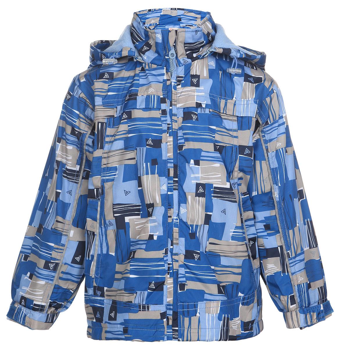 Куртка для мальчика M&D, цвет: голубой, синий, бежевый. 111603R-10. Размер 110111603R-10Легкая куртка для мальчика M&D, изготовленная из полиэстера, идеально подойдет для ребенка в прохладную погоду. Для большего комфорта на подкладке используется мягкий флис, который хорошо сохраняет тепло.Куртка с капюшоном застегивается на пластиковую молнию с защитой подбородка. Капюшон по краю дополнен затягивающимся шнурком со стопперами. Низ рукавов присборен на резинки. Ширину манжет можно регулировать при помощи хлястиков на липучках. Низ куртки оснащен резинкой со стопперами, защищающей от проникновения холодного воздуха. Спереди расположены два втачных кармана. Оформлено изделие оригинальным принтом.Куртка дополнена светоотражающими элементами для безопасности ребенка в темное время суток.Комфортная, удобная и практичная куртка идеально подойдет для прогулок и игр на свежем воздухе!