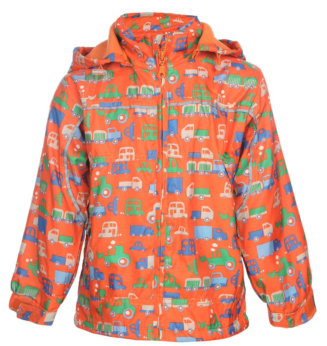 Куртка для мальчика M&D, цвет: оранжевый. 111525R-3. Размер 110111525R-3Яркая куртка для мальчика M&D идеально подойдет для ребенка в прохладное время года. Она выполнена из полиэстера и дополнена мягкой и теплой флисовой подкладкой.Куртка с воротником-стойкой застегивается на удобную застежку-молнию. Съемный капюшон фиксируется при помощи молнии, его объем регулируется при помощи эластичного шнурка со стопперами. Рукава оснащены широкими эластичными резинками, не стягивающими запястья, и хлястиками на липучках. Низ модели дополнен скрытым эластичным шнурком со стопперами. По бокам курточка дополнена двумя втачными кармашками на застежках-молниях. Изделие оформлено красочным принтом с изображением автомобилей и дополнена светоотражающими полосками. В такой куртке ваш маленький мужчина будет чувствовать себя комфортно, уютно и всегда будет в центре внимания!