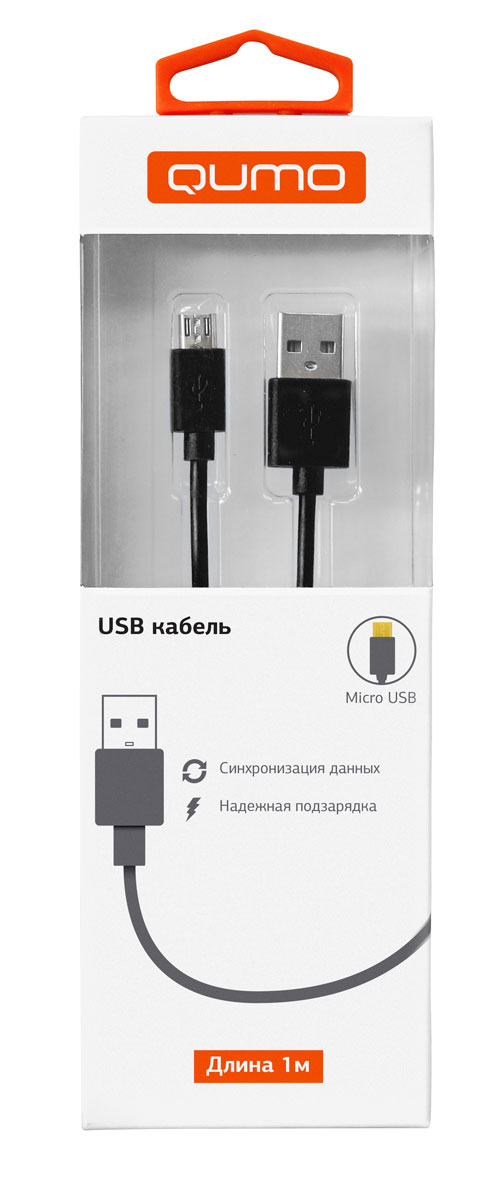 QUMO кабель microUSB-USB круглый, Black (1 м) qumo poweraid slim smart black внешний аккумулятор