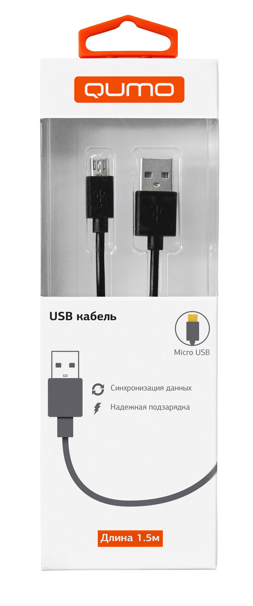 QUMO кабель microUSB-USB круглый, Black (1,5 м)20513Высококачественный кабель QUMO для надежной подзарядки и синхронизации данных для устройств с разъемом microUSB.
