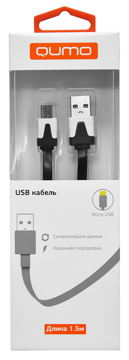 QUMO кабель microUSB-USB плоский, Black (1,5 м) плеер qumo marshmallow 8gb black 20576