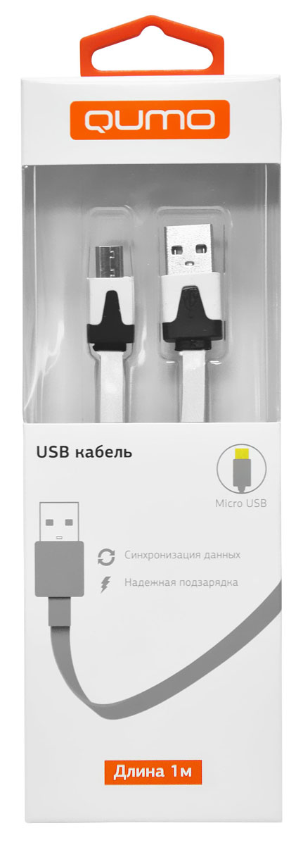 QUMO кабель microUSB-USB плоский, White (1 м)20516Высококачественный кабель QUMO для надежной подзарядки и синхронизации данных для устройств с разъемом microUSB.