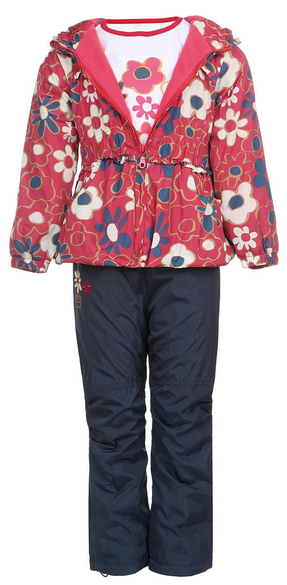 Комплект для девочки M&D: ветровка, брюки, лонгслив, цвет: красный, темно-синий, белый. 104511RD-7. Размер 104104511RD-7Красивый комплект для девочки M&D, состоящий из ветровки, брюк и лонгслива, идеально подойдет для вашего ребенка в прохладную погоду.Ветровка изготовлена из полиэстера с мягкой флисовой подкладкой. Модель с несъемным капюшоном застегивается на пластиковую молнию с защитой подбородка. Капюшон по краю дополнен затягивающимся шнурком со стопперами. Низ рукавов присборен на резинки. Линия талии также дополнена резинкой. Спереди расположены два втачных кармана. Оформлена ветровка цветочным принтом, украшена оборкой.Брюки выполнены из полиэстера с подкладкой из натурального хлопка. Модель прямого кроя на талии имеет широкую резинку, благодаря чему брюки не сдавливают животик ребенка и не сползают. По бокам расположены два втачных кармана. По низу брючин предусмотрена утяжка в виде резинок со стопперами. Изделие украшено цветочной вышивкой.Лонгслив изготовлен из натурального хлопка. Модель с круглым вырезом горловины оформлена на груди цветочным принтом. Горловина дополнена мягкой трикотажной бейкой контрастного цвета. Комфортный, удобный и практичный комплект идеально подойдет для прогулок и игр на свежем воздухе!