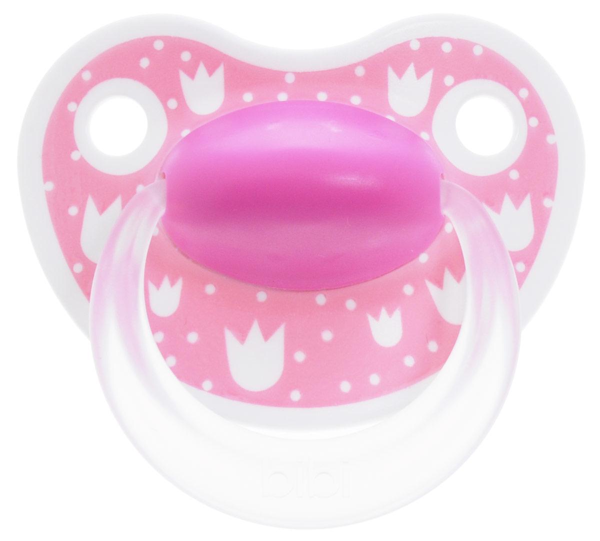 Bibi Пустышка силиконовая Happiness от 6 до 16 месяцев цвет розовый