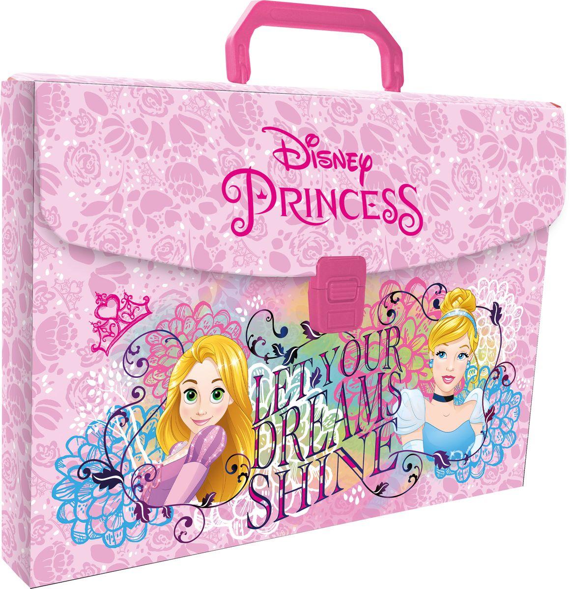 Disney Princess Папка-портфель для тетрадей Let Your Dreams ShinePRDB-US1-PLB-FB65Папка-портфель Disney Princess Let Your Dreams Shine формата А4 - это оптимальный способ уберечь от деформации тетради, документы, рисунки и прочие бумаги. С ней можно забыть о погнутых уголках и краях. Кроме того, теперь все необходимые бумаги и тетради будут аккуратно собраны, а не распределены по разным местам, что сократит время их поиска. Папка выполнена из полипропилена и застегивается на защелку. Дополнена ручкой для переноски.