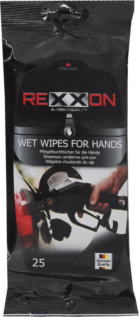 Салфетки влажные Rexxon, для рук, 25 шт2-1-1-4-1Влажные салфетки Rexxon из мягкого нетканого материала предназначены для очистки рук от сильных загрязнений (бензин, копоть, мазут, гудрон, подсохшее масло). Комплекс современных растворителей и натуральных масел эффективно очищает и одновременно смягчает руки. Особенности: - Нейтрализуют запах загрязнений. - Не раздражают кожу рук. - Придают рукам приятный запах. - Эффективная формула очищения очень сильных загрязнений. - Не оставляют липкости на руках после использования. Пропитывающий состав: вода деминерализованная, изопропанол, композиция неионогенных ПАВ, консервант, отдушка (ароматическая композиция). Товар сертифицирован.