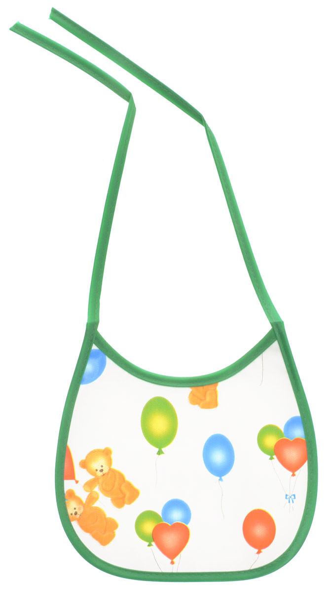 Колорит Нагрудник Мишки с шариками цвет белый зеленый 17 х 17 см