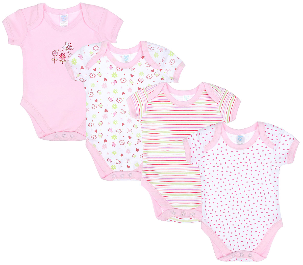 Боди для девочки Spasilk, цвет: розовый, 4 шт. ON S4HS3. Размер 52-62, 0-3 месяца боди для мальчика spasilk цвет белый голубой зеленый 4 шт on s4hs2 размер xxl 18 месяцев