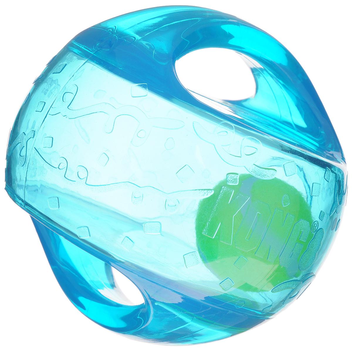 Игрушка для собак Kong Мячик L/XL, с пищалкой, цвет: прозрачный, бирюзовый, 18 х 18 х 18 см игрушка для собак kong регби с пищалкой цвет прозрачный фиолетовый 18 х 9 х 9 см