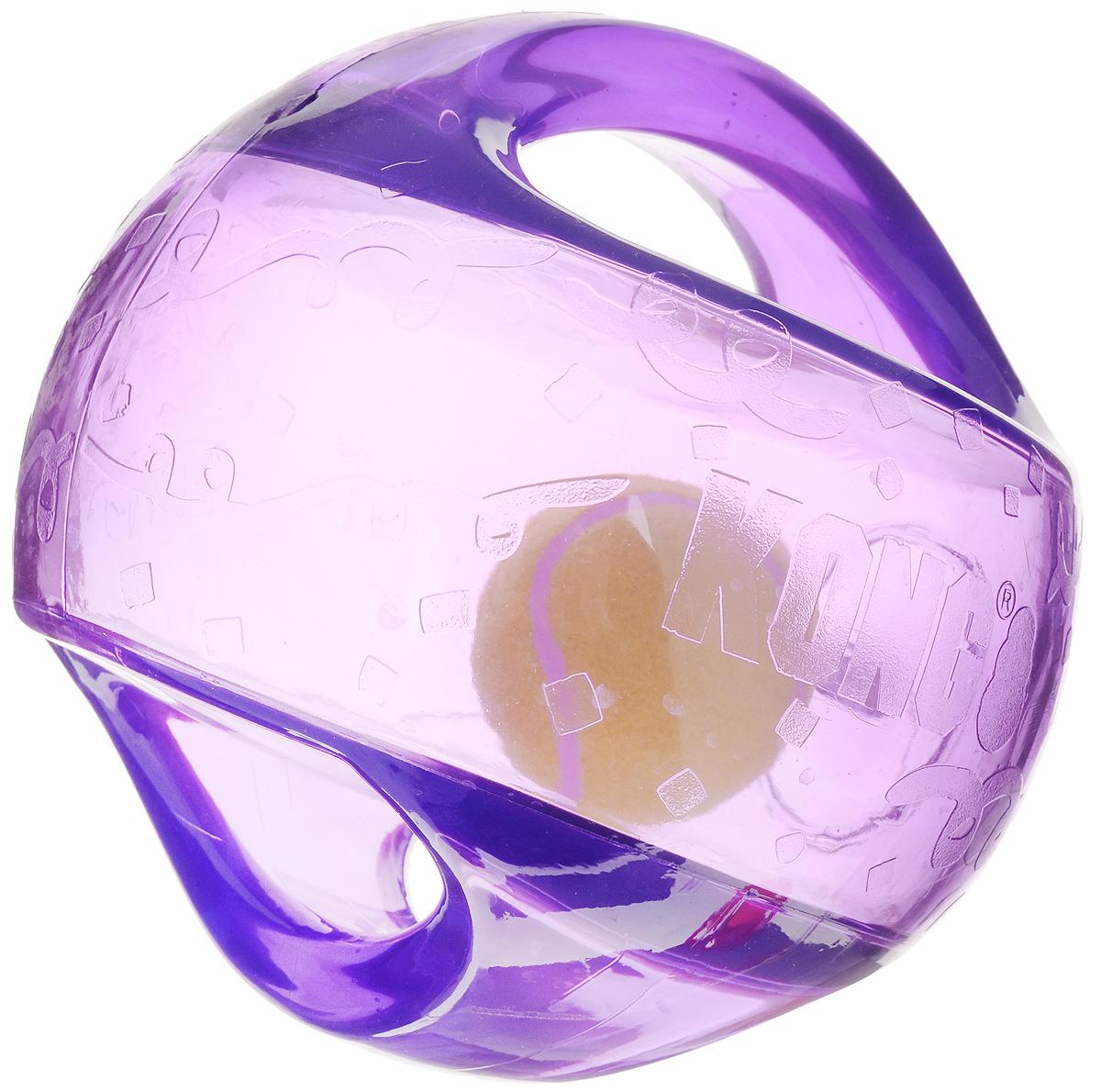 Игрушка для собак Kong Мячик L/XL, с пищалкой, цвет: прозрачный, фиолетовый, 18 х 18 х 18 см