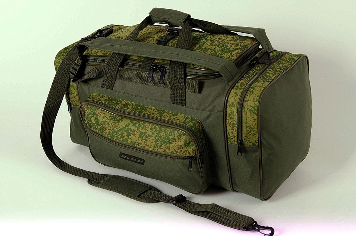 Сумка-рюкзак Solaris, цвет : оливковый, 52 л. S5202S5202Большая дорожная сумка-рюкзак из высококачественной износостойкой непромокаемой ткани ПВХ идеально подойдёт для поездок на охоту и рыбалку, пикников, длительных командировок, занятий спортом, автопутешествий, а также для проведения отпуска. Сумка имеет две дополнительные плечевые лямки и её удобно использовать в качестве рюкзака. Неиспользуемые плечевые лямки можно зафиксировать при помощи ремня с пряжкой (на клапане центрального отделения). Сумку также можно переносить на одном плече с помощью основной плечевой лямки. Сумка имеет 5 отделений: основное отделение, два больших торцевых кармана, два накладных боковых кармана. Общий объём сумки: 52 литра. Размеры: 62 х 30 х 28 см.