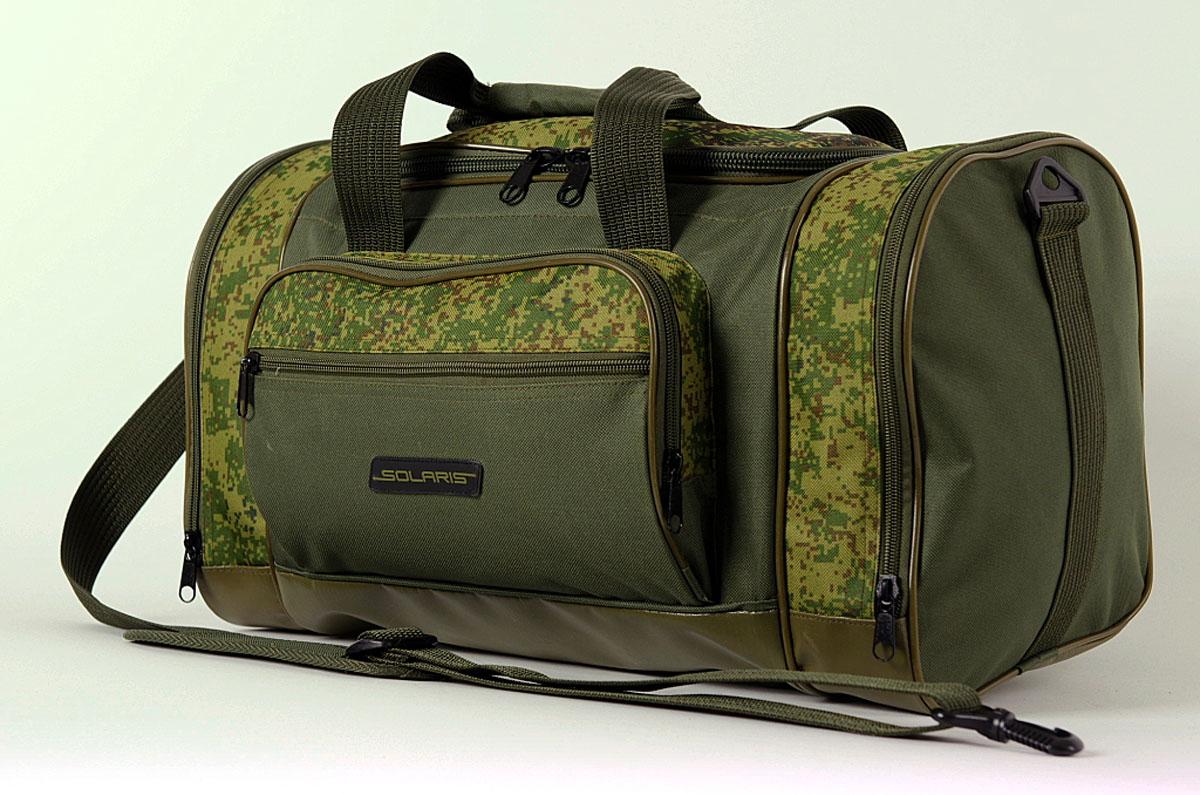 Сумка дорожная Solaris, с тентовым дном, цвет: оливковый, 36 л. S5114S5114Самая компактная дорожная сумка из высококачественной износостойкой непромокаемой ткани ПВХ, отлично подойдёт для поездок на охоту и рыбалку, пикников, командировок, занятий спортом, автопутешествий. Днище сумки сделано из высокопрочной водонепроницаемой тентовой ткани, что обеспечивает дополнительную защиту от повреждений - из такой ткани изготавливают тенты грузовиков. Сумка имеет 5 отделений: основное отделение, два больших торцевых кармана, два накладных боковых кармана. Общий объём сумки: 36 литров. Размер: 49 х 26 х 28 см.