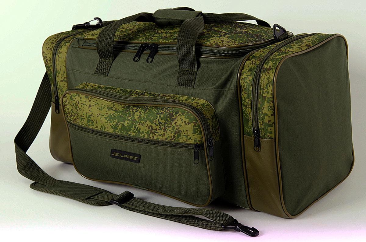 Сумка дорожная Solaris, с тентовым дном, цвет: оливковый, 52 л. S5108S5108Большая дорожная сумка из высококачественной износостойкой непромокаемой ткани ПВХ идеально подойдёт для поездок на охоту и рыбалку, пикников, длительных командировок, занятий спортом, автопутешествий, а также для проведения отпуска. Днище сумки сделано из высокопрочной водонепроницаемой тентовой ткани, что обеспечивает дополнительную защиту от повреждений - из такой ткани изготавливают тенты грузовиков. Сумка имеет 5 отделений: основное отделение, два больших торцевых кармана, два накладных боковых кармана. Общий объём сумки 52 литра. Размер: 62 х 30 х 28 см.