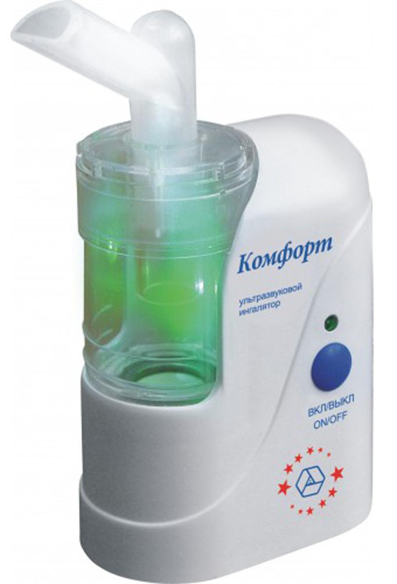 Ингалятор ультразвуковой Комфорт - 02 SmartКомфорт 02СмартИнгалятор Муссон-2-04 эффективно распыляет лекарственный раствор и отлично обеспечивает ингаляциюверхних и нижних дыхательных путей. Комплектация включает все необходимое для проведения процедуры каквзрослым, так и маленьким детям.Прибор состоит из пластмассового корпуса и жестко соединенной с ним распылительной камеры с крышкой иштуцером На дне камеры установлен ультразвуковой излучатель(пьезоэлемент).Корпус ингалятора изготовлен из гигиеничной пластмассы высшего сорта, что обусловливает безвредность прииспользовании, современный высокоэстетичный и эргономичный дизайн. При изготовлении электронной схемыприбора использованы современные высокостабильные электронные элементы. Благодаря этому достигнутавысокая надежность прибора, его безопасность, небольшие габариты и вес и, как следствие, удобствоприменения.Ультразвуковой излучатель расположен на дне распылительной камеры. Он обеспечивает производствоаэрозоля лекарственного раствора при включении прибора. На распылительной камере имеются две кольцевыериски – нижняя и верхняя. Нижняя - указывает на уровень воды, заливаемой в камеру, перед установкойстаканчика с лекарственным раствором. Верхняя – обозначает верхний уровень лекарства в стаканчике,установленном в камеру.Интенсивность распыления: 0-1 мл/ мин Размер частиц аэрозоля: не более 4 мкм Объем камеры для распыления: 14 мл Частота: 2,64 МГц