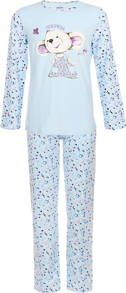 Пижама для девочки Baykar, цвет: голубой. N9014284А-22. Размер 110/116NA9014-10/NB9014-10Мягкая пижама для девочки Baykar, состоящая из футболки с длинным рукавом и брюк, идеально подойдет ребенку для отдыха и сна. Модель выполнена из эластичного хлопка, очень приятная к телу, не сковывает движения, хорошо пропускает воздух. Футболка с круглым вырезом горловины и длинными рукавами оформлена изображением забавной мышки и цветочным принтом.Брюки на талии имеют мягкую резинку, благодаря чему они не сдавливают животик ребенка и не сползают. Изделие оформлено цветочным принтом.В такой пижаме ребенок будет чувствовать себя комфортно и уютно!