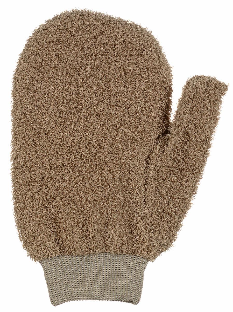 Мочалка-рукавица массажная Riffi, жесткая, цвет: светло-коричневый