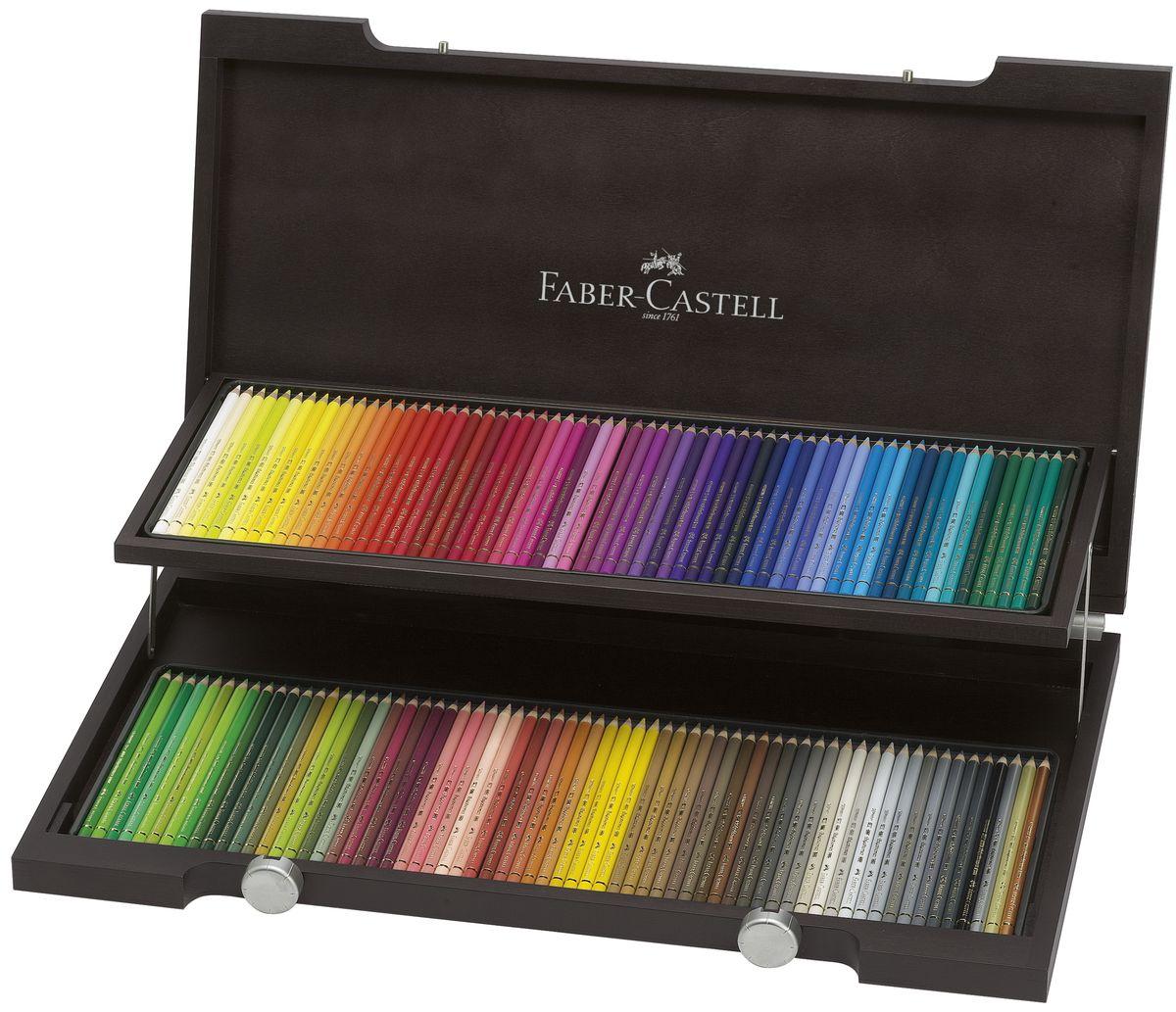 Faber-Castell Цветные карандаши Polychromos 120 цветов110013Цветные карандаши Faber-Castell Polychromos станут незаменимым инструментом для начинающих и профессиональных художников. В набор входят 120 карандашей различных цветов. Особенности карандашей:высокое содержание очень качественных пигментов гарантирует устойчивость к воздействию света и интенсивность;грифель толщиной 3,8 мм; гладкий грифель не размазывается.Набор цветных карандашей - это практичный художественный инструмент, который поможет вам в создании самых выразительных произведений. Карандаши упакованы в деревянный пенал, благодаря чему их удобно хранить.