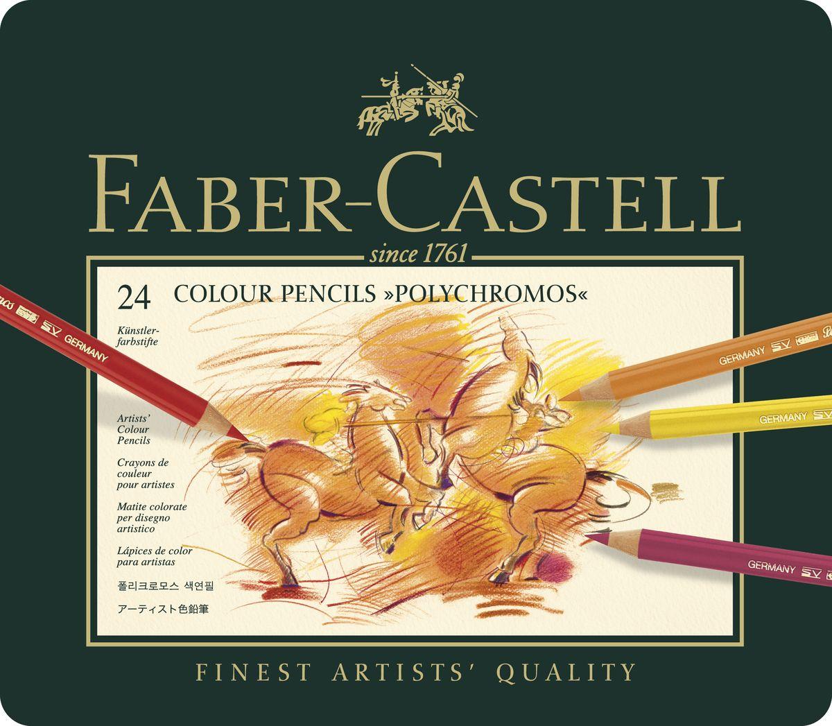 Faber-Castell Цветные карандаши Polychromos 24 цвета110024Цветные карандаши Faber-Castell Polychromos станут незаменимым инструментом для начинающих ипрофессиональныххудожников. В набор входят 24 карандаша разных цветов. Особенности карандашей:высокое содержание очень качественных пигментов гарантирует устойчивость к воздействию света и интенсивность;грифель толщиной 3,8 мм; гладкий грифель на основе воска водоустойчив, не размазывается.Набор цветных карандашей - это практичный художественный инструмент, который поможет вам в создании самыхвыразительных произведений. Карандаши упакованы в металлический пенал, благодаря чему их удобно хранить.