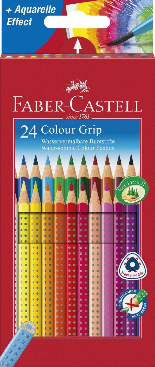 Faber-Castell Цветные карандаши Grip 24 цвета112424Цветные карандаши Faber-Castell Grip станут незаменимым инструментом для начинающих и профессиональных художников. В набор входят 24 карандаша разных цветов. Особенности карандашей: запатентованная GRIP-антискользящая зона захвата с малыми массажными шашечками; яркие, насыщенные цвета;размываемый водой грифель;специальное место для имени;отстирываются с большинства обычных тканей;специальная технология вклеивания (SV) предотвращает поломку грифеля;покрыты лаком на водной основе - бережным по отношению к окружающей среде и здоровью детей;качественное, мягкое дерево - гарантия легкого затачивания при помощи стандартных точилок;эргономичная трехгранная форма. Набор цветных карандашей - это практичный художественный инструмент, который поможет вам в создании самыхвыразительных произведений.