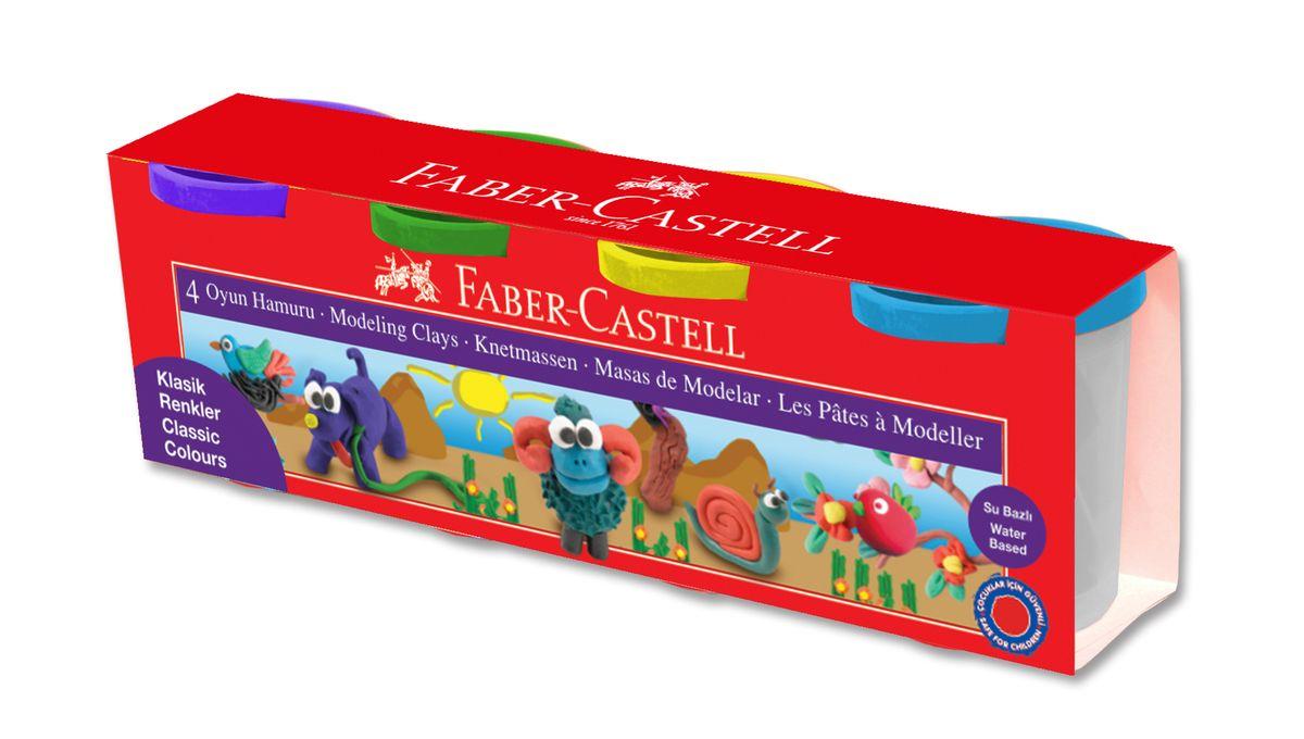 Faber-Castell Пластилин на водной основе в карт коробке 4 шт 520 гр120045• пригоден для развития детского творчества• на водной основе• мягкая и эластичная фактура• не прилипает и не крошится• абсолютно безопасен• общий вес набора - 520 гр