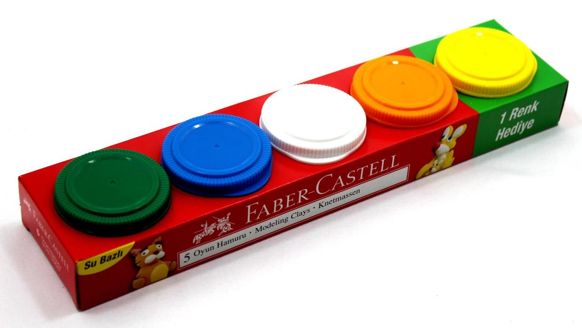 Faber-Castell Пластилин на водной основе 5 шт 225 г120047Играя необычным пластилином Faber-Castell на водной основе, ребенок сможет проявить фантазию, развивать свои творческие способности, мелкую моторику. Фактура пластилина мягкая, приятная на ощупь. Пластилин не липнет к рукам и не крошится. Качественные материалы абсолютно безопасны для здоровья.