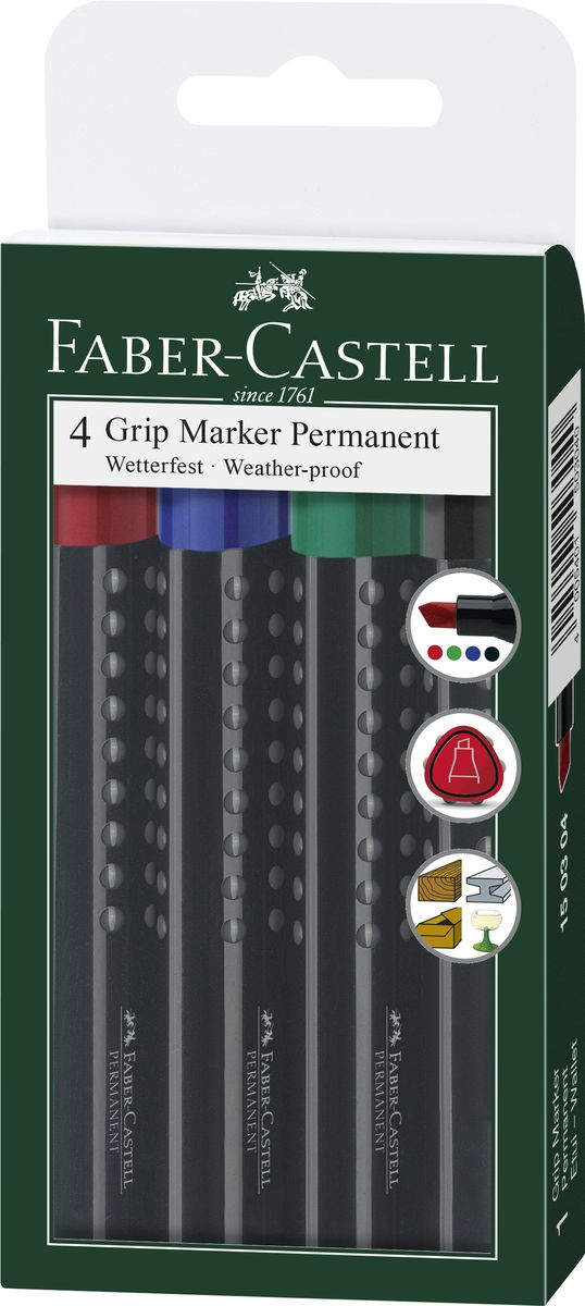 Faber-Castell Перманентный маркер Grip 4 шт150304Набор перманетных маркеров Faber-Castell включает в себя 4 маркера. Особенности маркеров:эргономичная трехгранная область захвата; идеален для любых поверхностей; линия маркировки шириной 2-5 мм; 4 ярких цвета; простая система повторного наполнения чернилами; быстрое высыхание; устойчивы к воздействию воды и стиранию.Такой набор станет незаменимым при любых работах, так как позволяет делать пометки и надписи на любыхповерхностях, включая стекло, картон, дерево и металл.