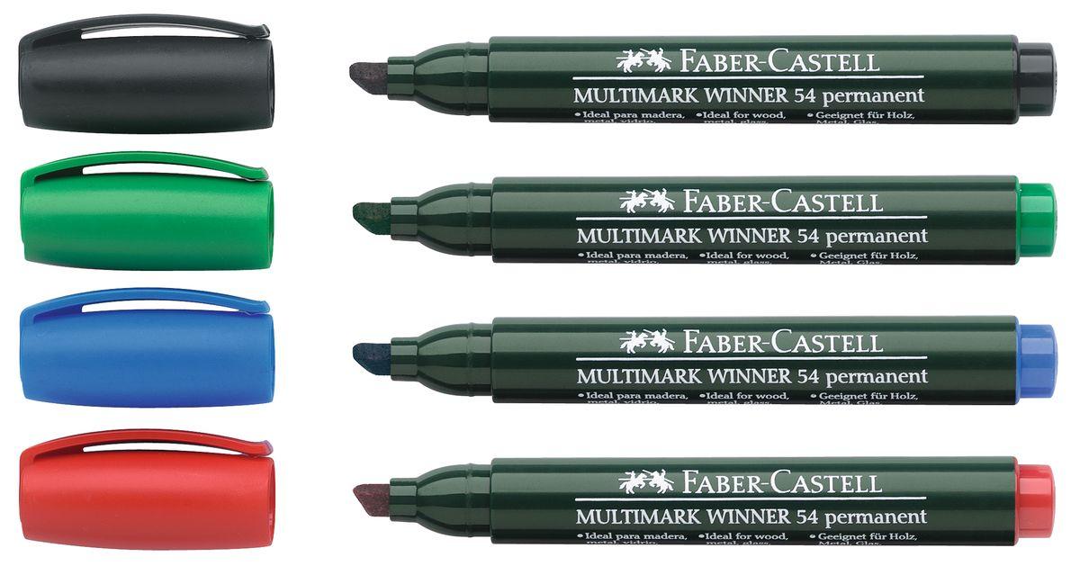 Faber-Castell Маркер перманентный Winner 54 4 шт157904Прекрасные маркеры Faber-Castell Winner 54 будут правильным решением для вашей коллекции. Выбранная модель станет приятной покупкой или подарком для друга.Данные маркеры имеют эргономичную трехгранную область захвата.Изделия состоят из сырья высокого качества приятного оттенка.Идеально подойдут для всех видов бумаги, быстро высыхают, устойчивы к воздействию воды и стиранию.Дизайн маркеров выверен учитывая все подробности.