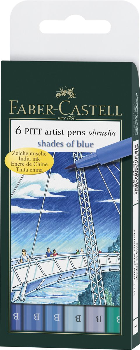 Faber-Castell Капиллярные ручки с кисточкой Pitt Artist Pen Shades Of Blue 6 цветов scribble scribble pen faber castell 25 pieces of pencil sketch sketch article carbon combination 112969