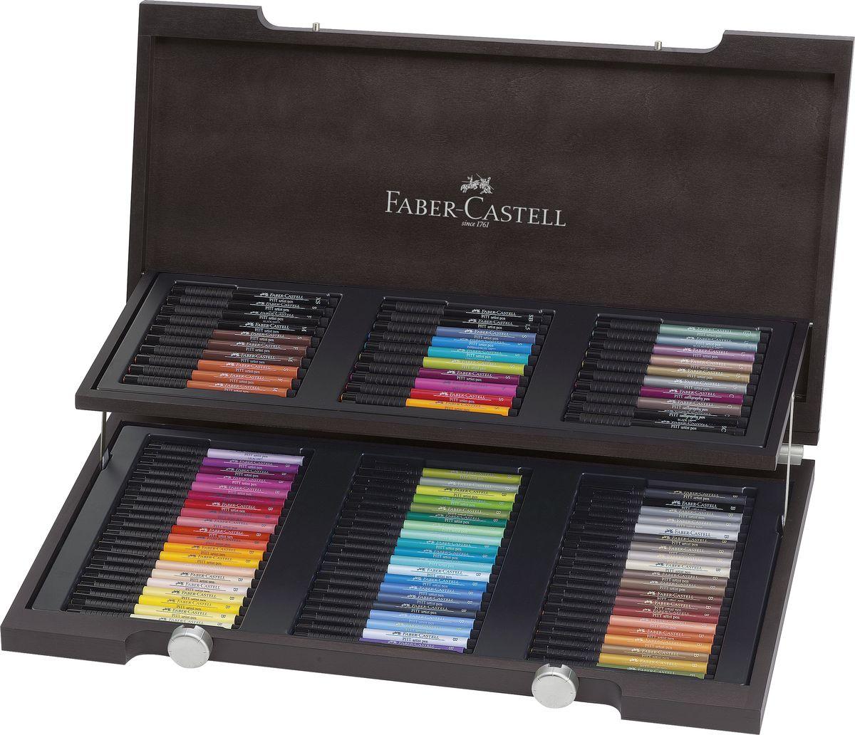 Faber-Castell Набор капиллярных ручек с кисточками Pitt Artist Pen 90 цветов faber castell капиллярные ручки pitt artist pen soft brush 8 шт