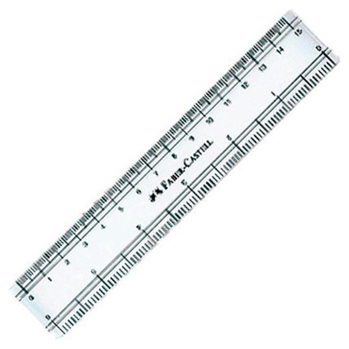 Faber-Castell Линейка 15 см170640Линейка Faber-Castell настолько прочная и удобная, что прекрасно подойдет как для школьного технического черчения, так и для более профессиональных измерительных или чертёжных работ. Изделие выполнено из качественного прозрачного пластика и имеет закругленные углы.Длина линейки -15 см.