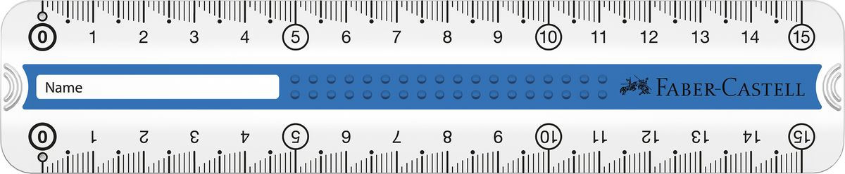 Faber-Castell Линейка Grip 15 см цвет синий171016Линейка Faber-Castell Grip выполнена из прозрачного прочного пластика. Линейка имеет две сантиметровых шкалы,благодаря чему подойдет как для правшей, так и для левшей. 3D Grip-зона и скошенные края обеспечат удобныйзахват линейки.Практичная и удобная линейка - незаменимый инструмент на любом рабочем столе.