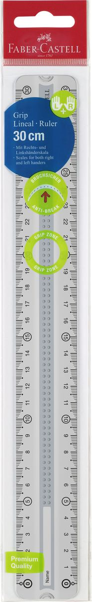 Faber-Castell Линейка Grip 30 см цвет серый171030Линейка Faber-Castell Grip выполнена из прозрачного прочного пластика. Линейка имеет две сантиметровых шкалы,благодаря чему подойдет как для правшей, так и для левшей. 3D Grip-зона и скошенные края обеспечат удобныйзахват линейки.Практичная и удобная линейка - незаменимый инструмент на любом рабочем столе.