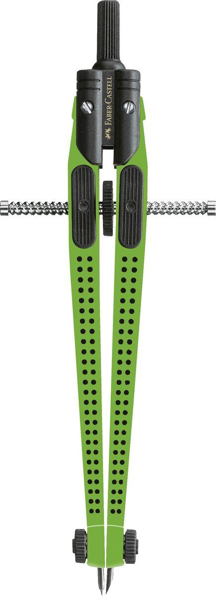 Faber-Castell Циркуль Quick Set Grip 2001 цвет зеленый174426Циркуль Faber-Castell Quick Set с регулировочным механизмом и центральным колёсиком изготовлен из прочных материалов специально для учащихся и студентов.Максимальный диаметр круга циркуля приблизительно 390 мм. Циркуль упакован в прозрачный пластиковый футляр. В наборе с циркулем идут дополнительные запасные грифели.