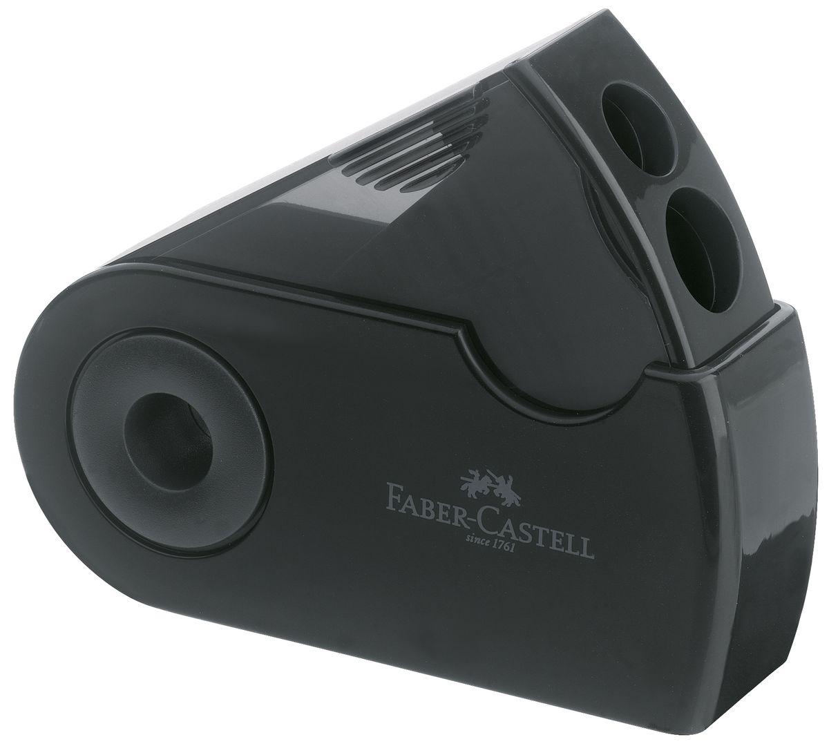 Faber-Castell Точилка двойная Sleeve цвет черный182700Двойная точилка Faber-Castell Sleeve выполнена из прочного пластика.В точилке имеются два отверстия для карандашей разного диаметра. Подходит для различных видов карандашей. Эргономичная форма контейнера обеспечивает стабильное положение кисти. Карандаш затачивается легко и аккуратно, а опилки после заточки остаются в специальном контейнере повышенной вместимости.