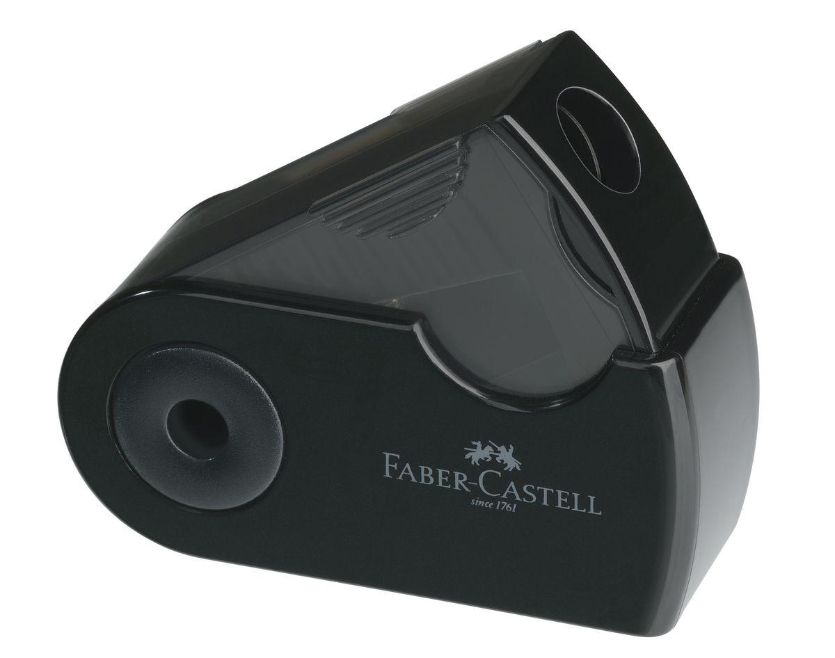 Faber-Castell Мини-точилка Sleeve цвет черный182710Мини-точилка Faber-Castell Sleeve выполнена из прочного пластика и предназначена для затачивания для классических, трехгранных чернографитных и цветных карандашей.В точилке имеется одно отверстие для карандашей классического диаметра. Эргономичная форма контейнера обеспечивает стабильное положение кисти. Карандаш затачивается легко и аккуратно, а опилки после заточки остаются в специальном контейнере повышенной вместимости.
