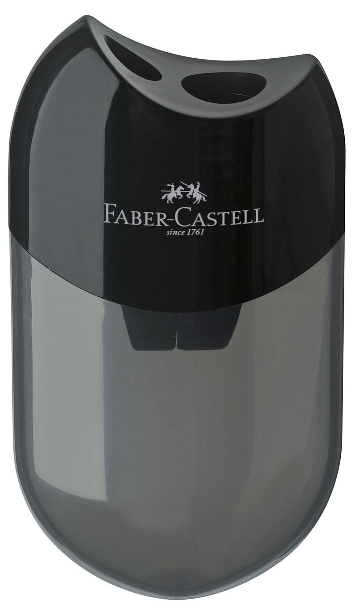 Faber-Castell Точилка с контейнером цвет черный 183500183500Точилка Faber-Castell выполнена из прочного пластика.В точилке два отверстия для классических, трехгранных, простых и цветных карандашей.Эргономичная форма контейнера обеспечивает стабильное положение кисти.Карандаш затачивается легко и аккуратно, а опилки после заточки остаются в специальном контейнереповышенной вместимости.