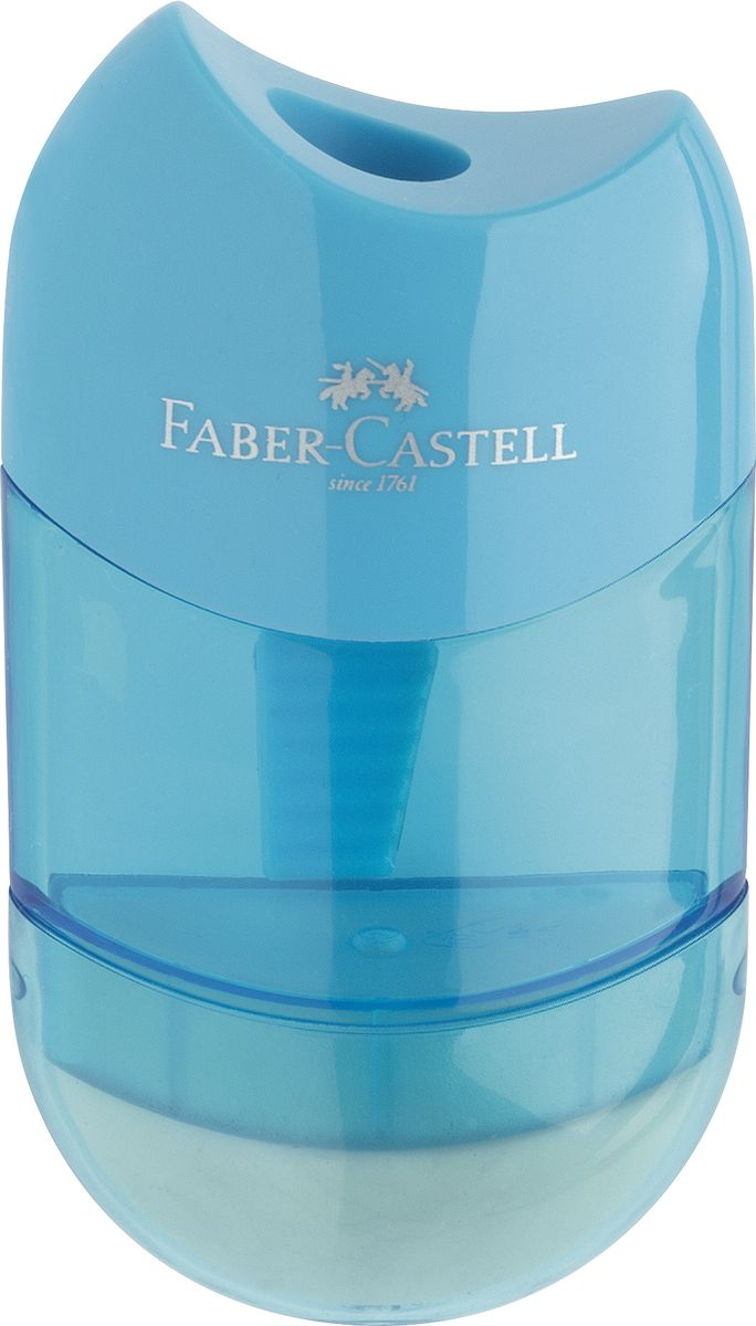 Faber-Castell Точилка-мини с контейнером и ластиком цвет голубой183601Точилка Faber-Castell - качественная простая точилка с контейнером для стружек и ластиком.Точилка предназначена для классических, трехгранных, простых и цветных карандашей.