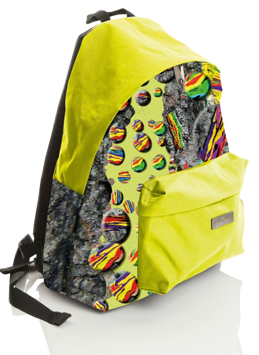 Faber-Castell Рюкзак Нейчер190133Стильный и качественный рюкзак Faber-Castell выполнен из прочного водоотталкивающего материала и прекрасно подойдет для использования подростками. Это легкий и компактный городской рюкзак, который обязательно подчеркнет вашу индивидуальность. Рюкзак содержит одно большое вместительное отделение, закрывающееся на застежку-молнию с двумя бегунками. На лицевой стороне рюкзака расположен накладной карман на молнии. Рюкзак оснащен широкими лямками и текстильной ручкой для переноски в руке.