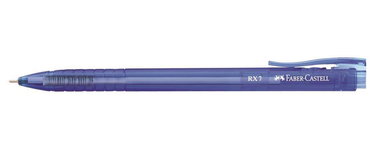 Faber-Castell Ручка шариковая RX-7 синяя цвет корпуса синий545451Шариковая ручка Faber-Castell RX-7 имеет эргономичную трехгранную форму, качественный нажимной механизм и тонкий наконечник. Чернила пониженной вязкости. Корпус дополнен упругим клипом.
