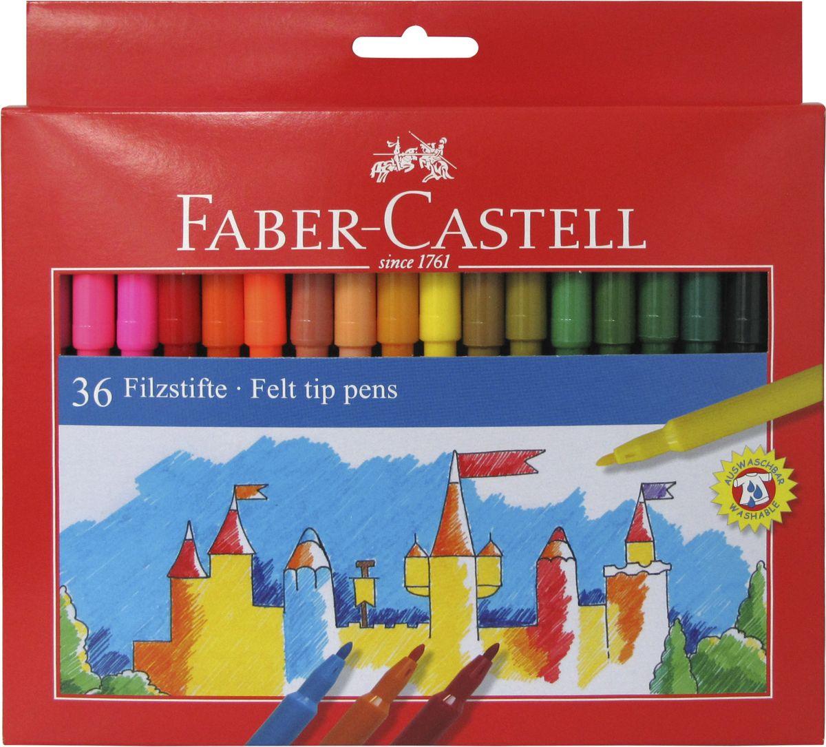 Faber-Castell Фломастеры 36 цветов554236Фломастеры Faber-Castell помогут маленькому художнику раскрыть свой творческий потенциал, рисовать ираскрашивать яркие картинки, развивая воображение, мелкую моторику и цветовосприятие.В наборе 36 разноцветных фломастеров. Корпусы выполнены из пластика. Чернила на водной основе окрашены сиспользованием пищевых красителей, благодаря чему они полностью безопасны для ребенка и имеют яркие,насыщенные цвета. Если маленький художник запачкался - не беда, ведь фломастеры отстирываются с большинстватканей. Вентилируемый колпачок надолго сохранит яркость цветов.
