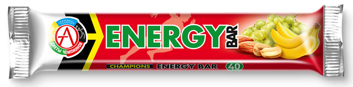 Энергетический батончик Сhampions Diet Champions Energy Bar, фруктово-ореховый, 40 гБП-00000519Фруктово-ореховый батончик Champions Energy Bar на основе специально подобранной композиции натуральных высококачественных углеводов обеспечивает энергией за счет природных углеводов. Champions Energy Bar батончики рекомендуются для всех видов физической активности: фитнеса, бега, велосипеда, коньков и роликов, лыж, футбола, аэробных тренажеров - там, где требуется постоянная подпитка энергией. Компоненты: сухофрукты: банан, виноград, кумкват; ядра ореха миндаля, арахис жареный, облатки вафельные (пшеничная мука, картофельный крахмал, растительное масло), кокосовое масло, антиоксидант (аскорбиновая кислота), ароматизатор идентичный натуральному Банан. Батончики - это оптимальное решение для всех людей, кто занимается спортом и ведет просто активный образ жизни. Довольно удобная и практичная форма, высокое качество, небольшая стоимость делают их лучшим решением на сегодняшний день для многих активных и спортивных людей. Белковые батончики производятся на 100 % из натурального сырья В составе батончиков нет сахара и сахарозаменителей Без ГМО, консервантов и пищевой химии Не содержат гидрогенизированные масла Не содержат продукты животного происхождения Не содержат холестерин и транс-жирные кислоты Не содержат пшеницу и клейковину Не содержат искусственных подсластителей Не содержат сахарные спирты, в том числе эритритол В каждом батончике содержится суточная доза витаминов А и С из натуральных источников Полезность батончиков обусловлена высоким содержанием фруктозы (в составе изюма, абрикоса и вишни), белка, полиненасыщенных жирных кислот, пищевых волокон, минеральных веществ (калий, натрий, железо, магний, фосфор) и витаминов (А, Е, С, В1, В2) Батончики не проходят термообработку, это позволяет полностью сохранить все витамины и минеральные вещества Батончики покрыты тонкой вафелькой, что делает их более удобными и практичными Пищевая ценность На 100 г продукта На 1 батонч