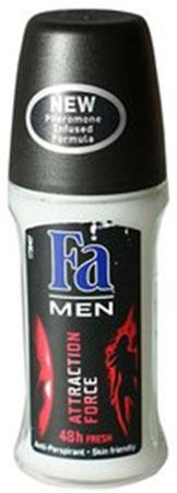 FA MEN Дезодорант роликовый Сила Притяжения, 50 мл12085429Дезодорант антиперспирант FA MEN Сила Притяжения - Откройте для себя длительную део-защиту на 48 ч и секрет неотразимого обаяния благодаря особой формуле с феромонами. Эффективная защита против запаха пота на 48 часа и длительная и притягательная свежесть. - Без белых пятен- Бережная формула защищает и заботится о коже- Хорошая переносимость кожей подтверждена дерматологами.Применение: наносить антиперспирант на кожу в области подмышек. Не наносить на раздраженную или поврежденную кожу.Также почувствуйте притягательную свежесть, принимая душ с гелем для душа Fa Men.Более подробную информацию можно найти на сайте: http://www.ru.fa.com/fa-men/ru/ru/home/deodorant/attractive-power/deo-roll-on-attractive-power.html